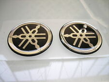 2x 50MM TANK EMBLEM YAMAHA STIMMGABEL TUNING FORK BADGE EPOXY STICKER AUFKLEBER