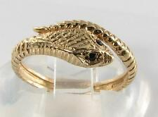 CLASS 9CT GOLD BLACK SAPPHIRE EYES SNAKE COILED RING FREE RESIZE