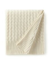 Brand New SEALED $695 Sofia Cashmere 100% Cashmere Thick 6-ply Ivory Cable Throw