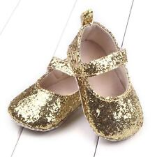 Toddler Girl Soft Sole Crib Shoes Sequins Sneaker Baby Shoes Gold 13