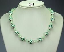 Green & white flower porcelain necklace, opaque green crystals, silver balls