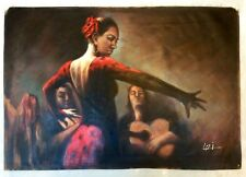 Large Hand Painted Oil Painting on Canvas Red Dress Spanish Flamenco Dancer