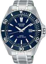 Pulsar On The Go Collection PX3067 - Men's Silver Solar Watch w/ Blue Dial
