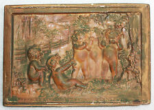 "PLASTER PLAQUE BY L. PERUGGI, 1929  ""SPEAK NO EVIL, SEE NO EVIL, HEAR NO EVIL."""