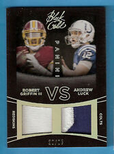 ANDREW LUCK ROBERT GRIFFIN III RG3 GAME USED JERSEY PATCH CARD BLACK GOLD #20/25