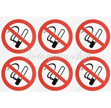 Set of 6 Stickers No Smoking Self Adhesive Seperate Warning Signs/Decal/Stickers