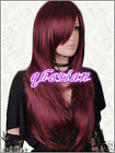 Fashion Long Straight Dark Red Hair Wigs Cosplay party New Women's Wig