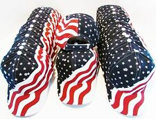 AMERICAN FLAG HAT LOT-24 MENS WOMENS RED-WHITE-BLUE HATS-FLAG CAPS-WHOLESALE LOT
