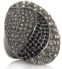 HSN Universal Vault Black-Diamond-Color Crystal Gunmetal-tone Pave Ring Size 5