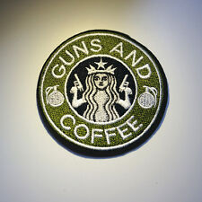 Tactical Guns and Coffee Morale Military Sew Iron On Patch Badge Jeans Applique