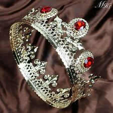 Imperial Medieval Gold Tiaras Simulated Ruby Men's Crowns Pageant Party Costumes