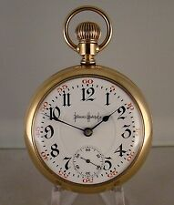 ILLINOIS BUNN SPECIAL 24j 14k GOLD FILLED OPEN FACE 18s RAILROAD POCKET WATCH