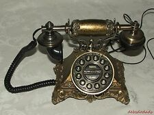 Decorative Collectible Antique Victorian Look Push Button Table Desk Phone Works