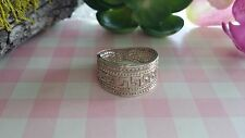 Beautiful Heavy Solid Cigar Engraved Band Ring Sterling Silver *Size 6.25 *C533