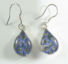 925 sterling silver small teardrop shaped earrings with real flowers