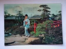 JAPAN girl LENTICULAR 3D vintage old postcard vecchia cartolina