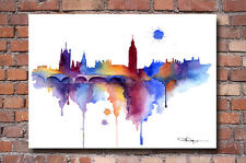 London Skyline Watercolor Painting Art Print by Artist DJ Rogers