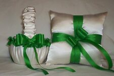 IVORY CREAM SATIN / KELLY GREEN TRIM FLOWER GIRL BASKET & RING BEARER PILLOW