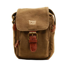 Troop London - Small Brown Canvas Classic Messenger/Body Bag with Leather Trim