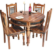 "Handcrafted Indian Sheesham Jali Round Dining Table ""without chairs"""