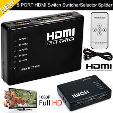 1080p 5 PORT HDMI Switch Selector Switcher Splitter Hub + iR Remote For HDTV PS3