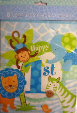 8 x Happy 1st Birthday Blue Safari Party Loot Gift Bags. Free Postage