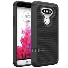 LG G5 Heavy Duty Rubber Dual Layer Impact Shockproof Hybrid Case Cover - Black