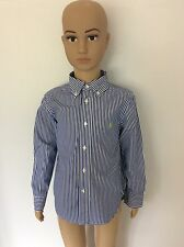 Ralph Lauren Long Sleeve Shirt Size Age 4T, Blue White Pinstripe, Immaculate