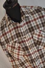Vintage country trader brown check western shirt size medium cowboy trucker