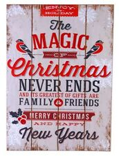WOODEN SHABBY CHIC MAGIC OF CHRISTMAS HANGING SIGN WALL PLAQUE