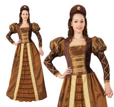 Mesdames golden queen fancy dress costume tudor renaissance reine costume uk 10-14