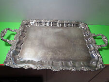 Vintage Large Sheridan Silver Plated Handled & Footed Ornate Bulter Serving Tray