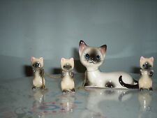 VINTAGE SIAMESE CERAMIC MAMA CAT ON CHAIN WITH 4 BABIES MADE IN JAPAN