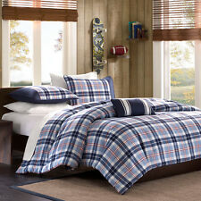 BEAUTIFUL BLUE WHITE GREY RED PLAID BOYS CABIN COMFORTER SET FULL QUEEN ,TWIN XL