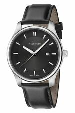*BRAND NEW* Wenger Men's Silver Markers Black Dial Leather Watch 01.1421.103