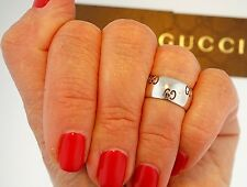 $1990 GUCCI ICON 18K White Gold Band Logo Perforated Ring 5