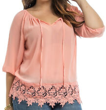 Size 3X SHIRT TOP Womens Plus PEACH 3/4 Sleeve KNIT LACE BOTTOM Araza NWT NEW