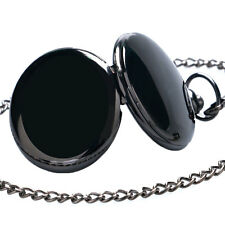 Fashion Fob Pendant Quartz Smooth Black/Silver/Gold Pocket Watch Mens Women Xmas