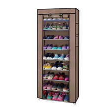New 10 Tier Shoe Closet Organizer Cover Rack Storage Shelf Cabinet Space Saving