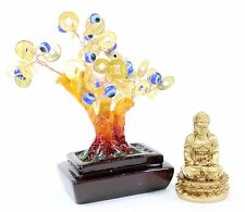Set of 2~Feng shui Gold Buddha Blue Evil Eye Money Tree Lucky Home Decor Gift