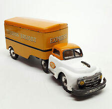 Vtg 1950s Pressed Steel Tin Friction SSS GMC Tractor Trailer Express Truck JAPAN