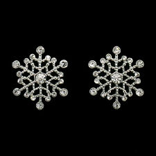 Snowflake Winter Christmas Holiday Stud Earrings Costume Jewel Crystal Clear 526