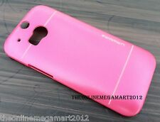 Pink Metallic finish Plastic Hard Back Case,Cover,Pouch For HTC One M8 2014