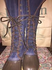 """New! Women's Signature 16"""" LL Bean Boots Waxed Canvas Navy Size 7M"""