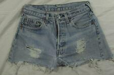 "Vtg 70s Levi 501 Redline Cut Off Denim Jeans Shorts 27"" Waist Selvedge Womens"