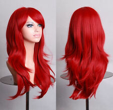 Fashion Women Girls Red Hair Cosplay Costume Long Wavy Full Wigs Curly Wig + Cap