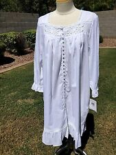 Eileen West Lawn Cotton Robe Nightgown Sz L White w/Lace Short Length $72 NWT
