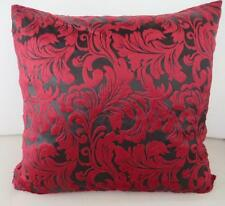 Deep Red & Black Acanthus Classic Velvet Cushion Cover ~ 45cm