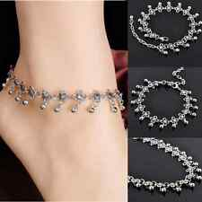 Retro Silver Bead Chain Anklet Beach Barefoot Ankle Bracelet Summer Jewelry W87