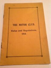 1918 THE MOTOR CLUB GENERAL COMMITTEE RULES REGULATIONS AND BY LAWS BOOKLET vscc